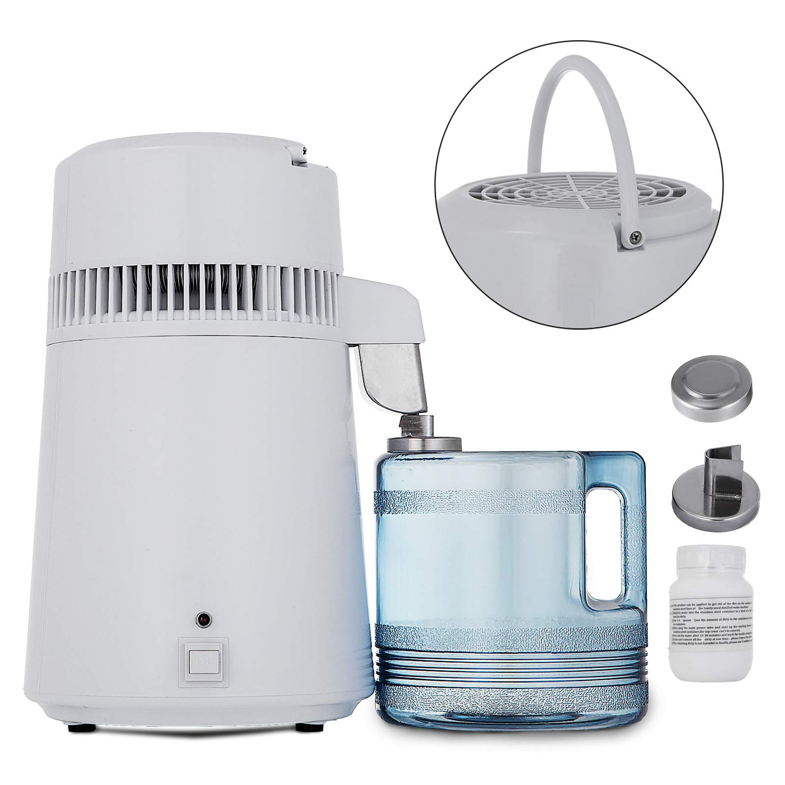 Mophorn Pure Water Distiller 4L Countertop Water Distiller 750W Stainless Steel Water Distillation Purifier