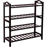 SONGMICS 100% Bamboo 4-Tier Shoe Rack Entryway Shoe Shelf Storage Organizer, ULBS94Z