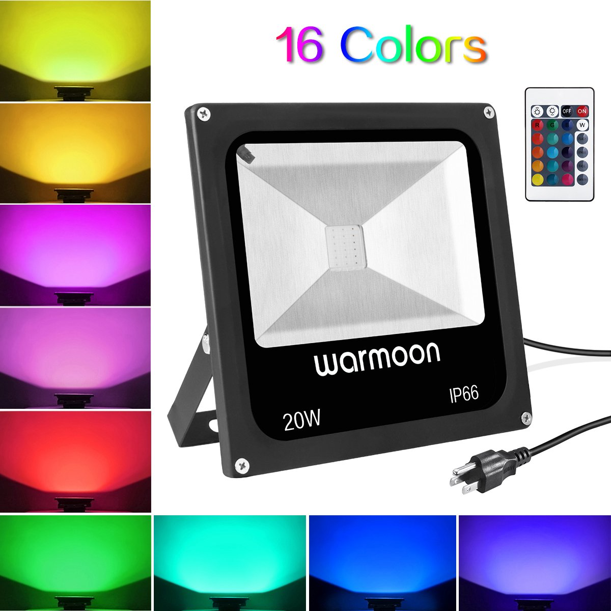 Warmoon Outdoor Flood Light 20W RGB Waterproof IP66 Dimmable Color Changing LED Security Spotlight Light with Remote Control US 3-Plug for Home Garden Landscape Stage Yard