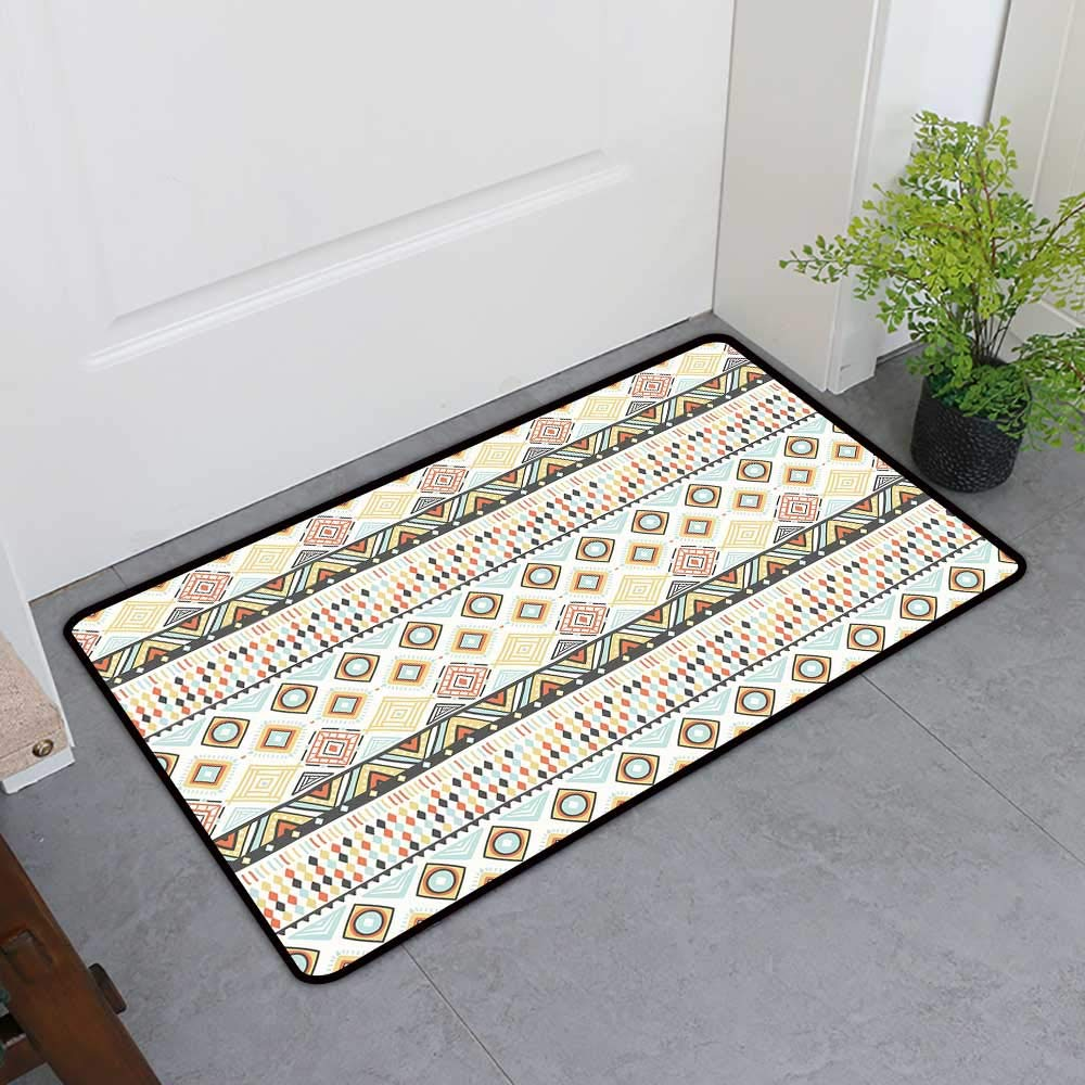 TableCovers&Home Non-Slip Door Mat, Geometric Non-Slip Doormats for Office, Native Culture Inspired Indigenous Pattern with an Assortment of Different Shapes (Multicolor, H36 x W60)