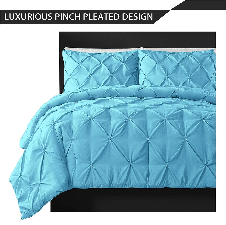 Amazon com: Egyption-Cotton Pinch Pleated 3PC Sky Blue Duvet