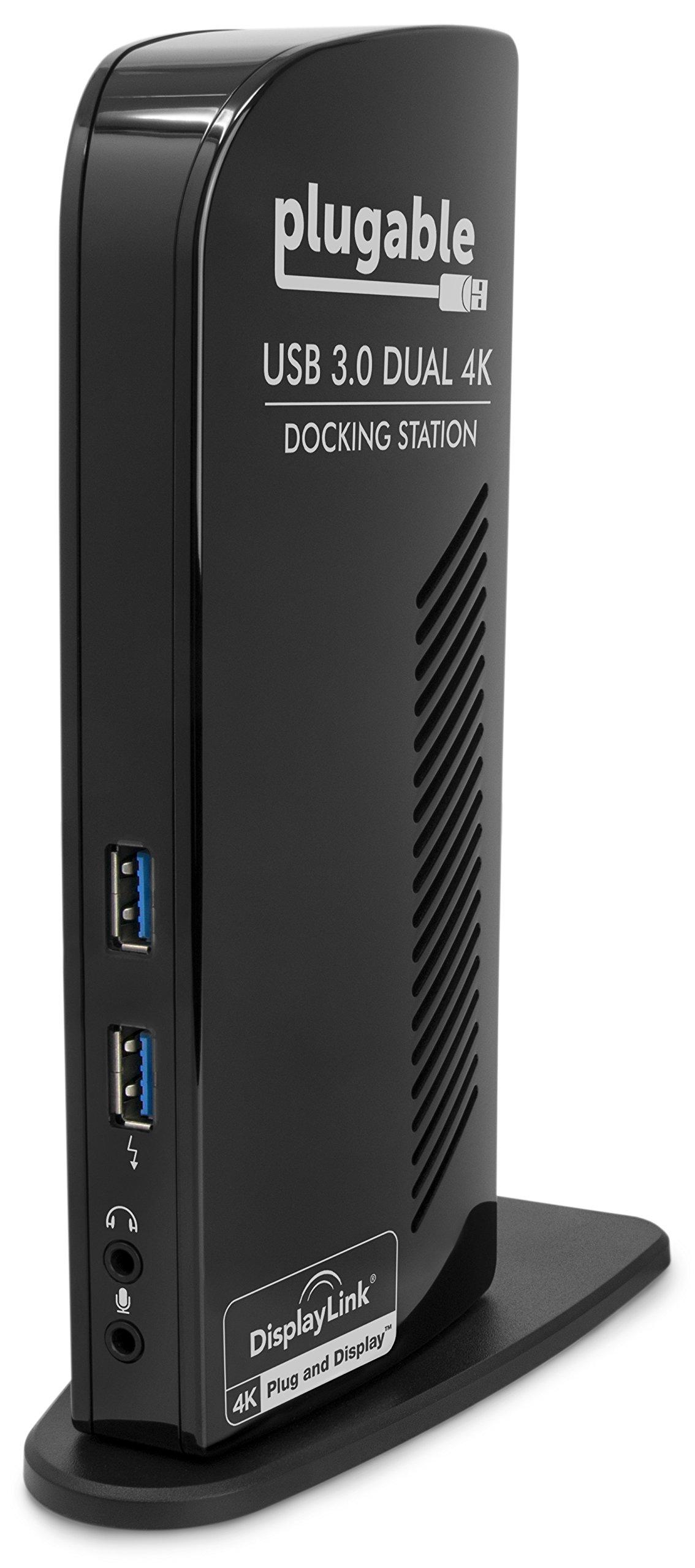 Plugable USB 3.0 Dual DisplayPort 4K Monitor Universal Laptop Docking Station for Windows (Dual 4K DisplayPort, Gigabit Ethernet, Audio, 6 USB Ports)