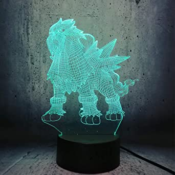 wangZJ LED Game Pokemon Entei Go Acción 3D Lámpara Pikachu Night ...
