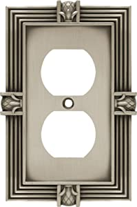 Franklin Brass 64462 Pineapple Single Duplex Outlet Wall Plate/Switch Plate/Cover, Brushed Satin Pewter