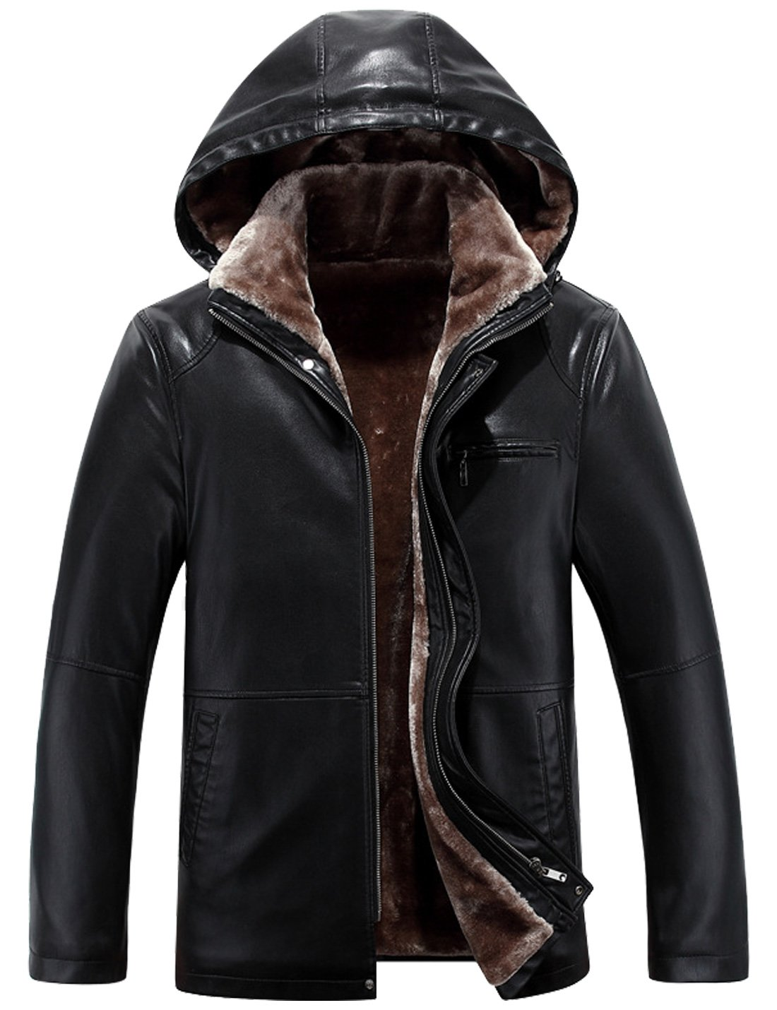 Yeokou Men's Winter Warm Leather Coat Real Fur Hooded Leather Jacket Black112 M