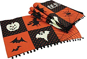 Xia Home Fashions Halloween Patchwork Placemats, 13 by 18