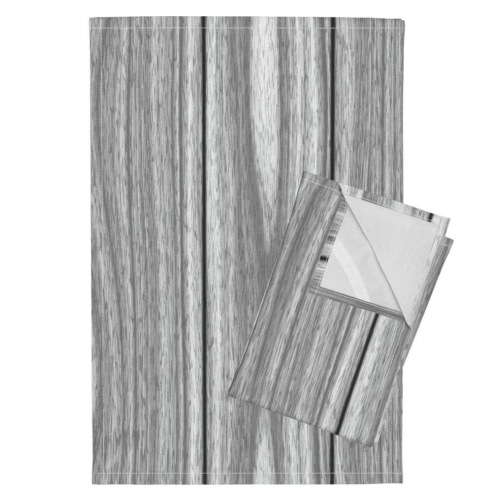 Roostery Wood Lumber Planks Panelling Woodgrain Timber Whitewash Tea Towels Wood! ~ Ii ~ White Wash by Peacoquettedesigns Set of 2 Linen Cotton Tea Towels