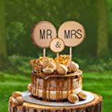 3 Pcs Premium Wedding Cake Toppers, Mr and Mrs Cake Topper, Rustic Wedding Decoration, Wedding Cake Topper with Bark for Wedd