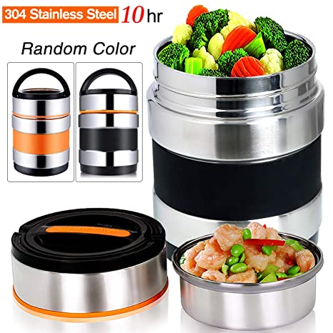 9a3166d82374 Vacuum Insulated Lunch Box Stainless Steel Food Jar 2 Tiers Food Container  Food Carriers Thermal Lunch Container Food Storage Box 1.4L Holding Time ...