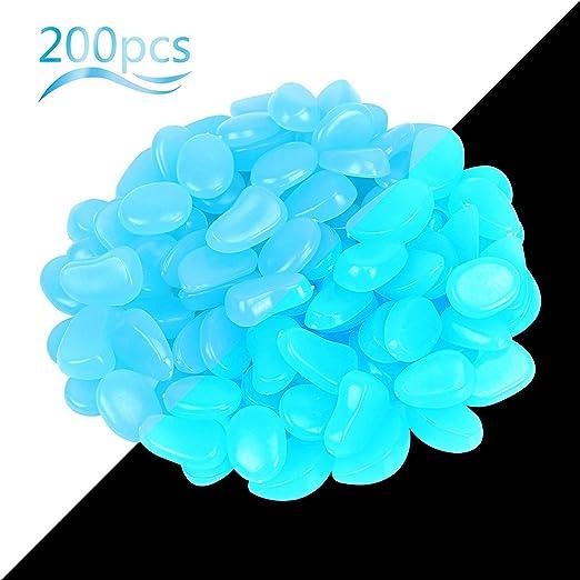 Fiona - 200 Piedras Brillantes Coloridas para jardín, decoración de pasarelas, macetas, acuarios, Adornos, Color Azul, Azul: Amazon.es: Jardín