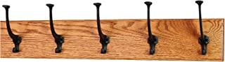 product image for PegandRail Solid Oak Wall Mounted Coat Rack - Large Black Mission Hooks - Made in The USA (Burnt Orange, 25.5 x 4.5 X-Wide - 5 Hooks)