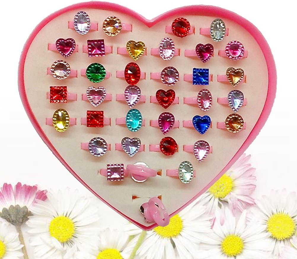 STOBOK Colorful Sparkle Rings with Heart Shape Display Case Gift for Kids 36pcs