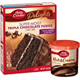 Betty Crocker Triple Chocolate Fudge Cake Mix and Chocolate Frosting Bundle (2 Items)