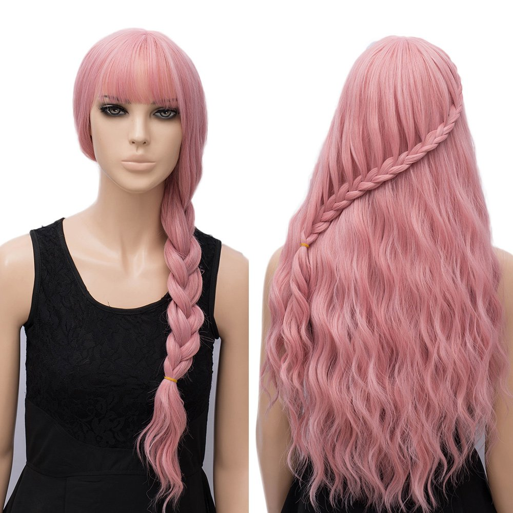 Women's Pink Wig, Long Fluffy Curly Wavy Hair Cosplay Wigs for Girl