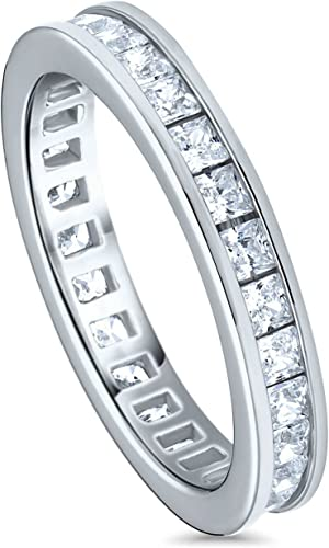 Sterling Silver Eternity Band Ring w// 2mm Princes Cut Cubic Zirconia Stones