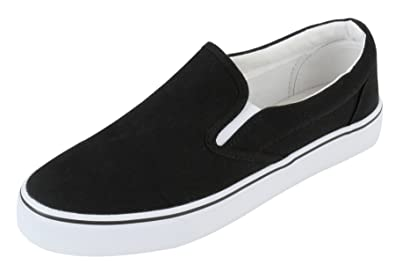 3979c7da05b Womens Canvas Black Fashion Sneakers Casual Slip On Loafer Shoes - Size 6