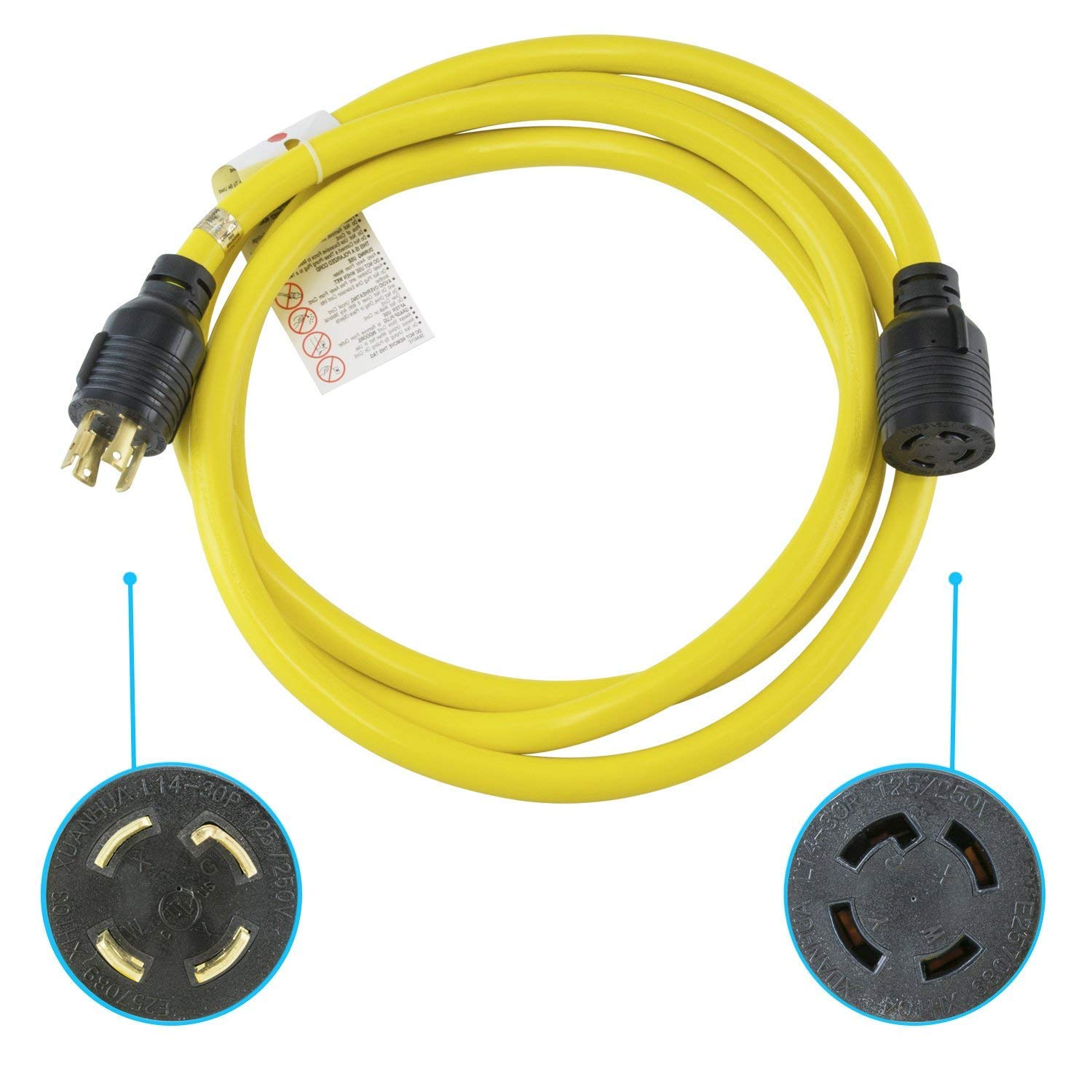 Houseables Generator Cord Electric Extension Wire 4 Prong 30 Amp Wiring 125 250v Single Yellow 10 Ft All Rubber Gauge Heavy Duty L14 Transfer