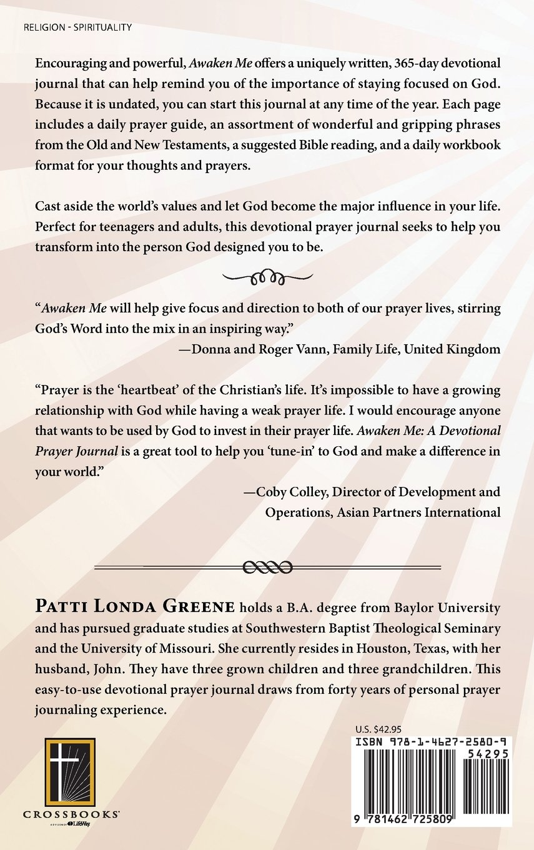 Workbooks prayer workbook : Awaken Me: A Devotional Prayer Journal: Patti Londa Greene ...