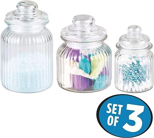 Swabs Pads InterDesign Alston Bathroom Vanity Canister Jar For Cotton Balls