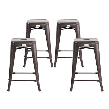 Brilliant Buschman Set Of Four Dark Gun Metal Dark Grey 24 Inches Counter Height Metal Bar Stools Indoor Outdoor Stackable Cjindustries Chair Design For Home Cjindustriesco