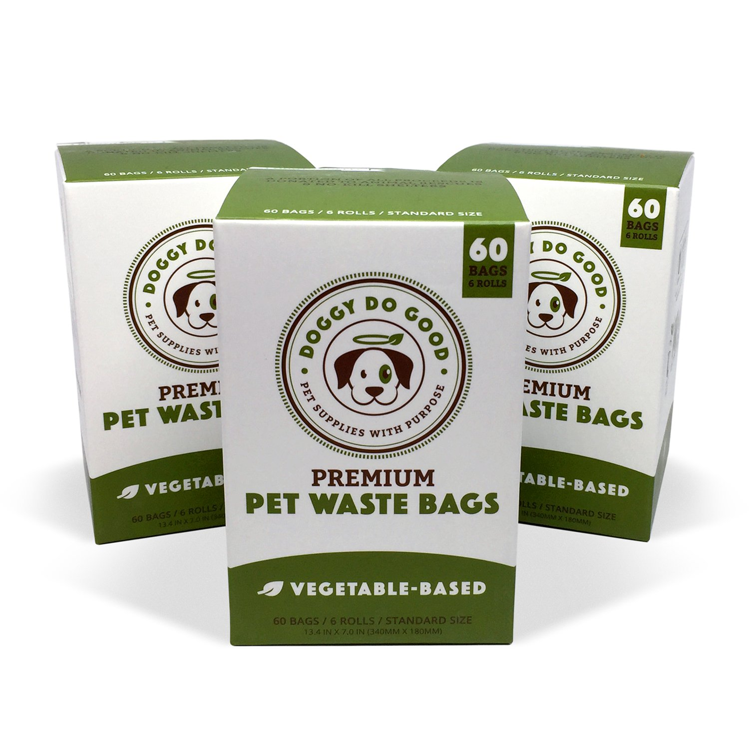 Biodegradable Poop Bags | Dog Waste Bags, Unscented, Vegetable-Based & Eco-Friendly, Premium Thickness & Leak Proof, Easy Detach & Open, Supports Rescues (3-Pack (180 ct)) by Doggy Do Good