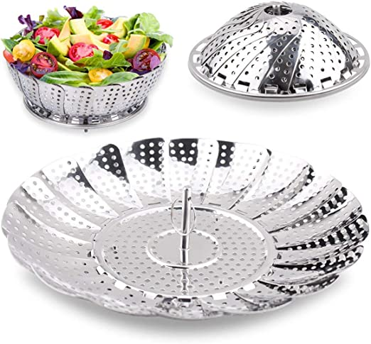 100/% Stainl Vremi Collapsible Vegetable Steamer Basket for Large and Small Pan