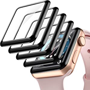 Haveda Full-Coverage Screen Protector for Apple Watch 38mm Series 3, [5 Pack] 3D Bubble-Free Anti Scratch HD Screen Protector with Black Edge Compatible for iWatch 38mm Serise 3/2/1