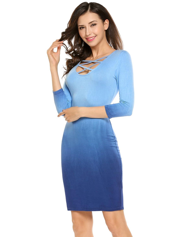 Meaneor Damen 3/4 Ärmeln Etuikleid Partykleid Shirtkleid Casual Kleid  Knielang V-Ausschnitt mit schnürung: Amazon.de: Bekleidung