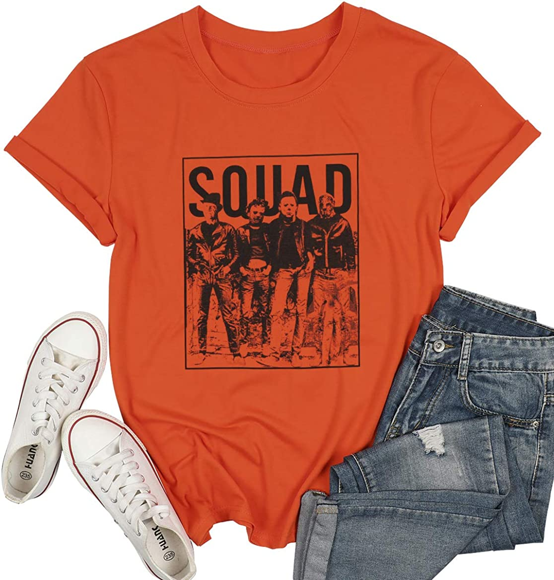 Halloween T-Shirt for Women Squad Hocus Pocus Letter Print Tee Shirt Fall Funny Short Sleeve Tee Top Blouse
