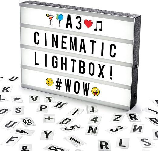 Cosi Home ™ - Caja de luz LED en formato A3 con letras, Emoji, emoticonos y símbolos para mensajes personalizados. Alimentado por batería y USB: Amazon.es: Hogar