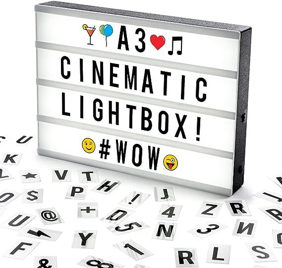 Cosi Home ™ - Caja de luz LED en formato A3 con letras, Emoji ...