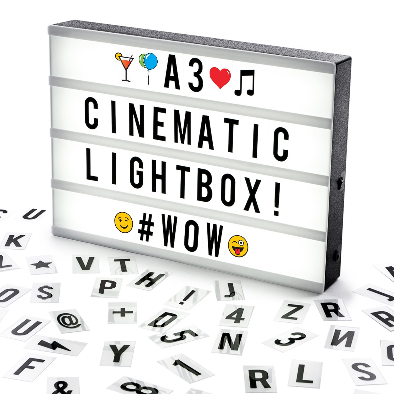 Cosi Home® A4 Cinematic Light Box with 100 Letters, Emoji, Smilies and Symbols - Personalise your own Message - Battery and USB Power LB-01