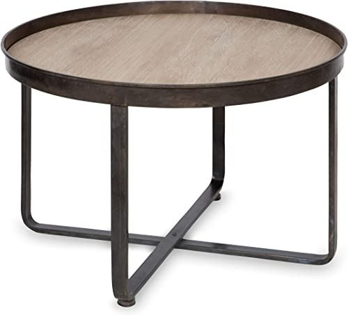 Kate and Laurel Zabel Modern Farmhouse Round Coffee Table with Black Wrought-Iron Criss Cross Base and White Oak Finished Wooden Insert