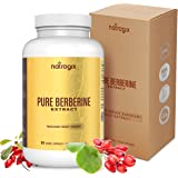 Pure Berberine Supplement 1000mg, Natural Berberine Hydrochloride HCl Extract - Support Healthy Blood Sugar Levels & Glucose Metabolism, Immune System, Cardiovascular, Antibacterial-90 Veggie Capsules