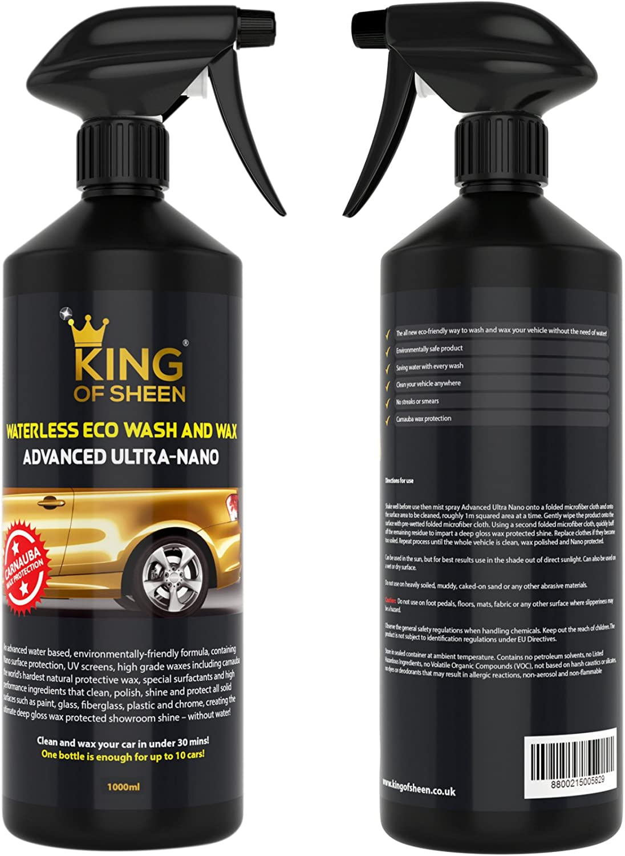 King Of Glanz Außen Car Care Kit Autopflegeset Adv Ultra Nano Eco Wasserlos Autowasche 1 L Universal Rad Cleaner 500ml Und Eco Reifen Glanz 500ml 2 Profi Auto Mikrofasertücher Und Reifenschwamm Auto