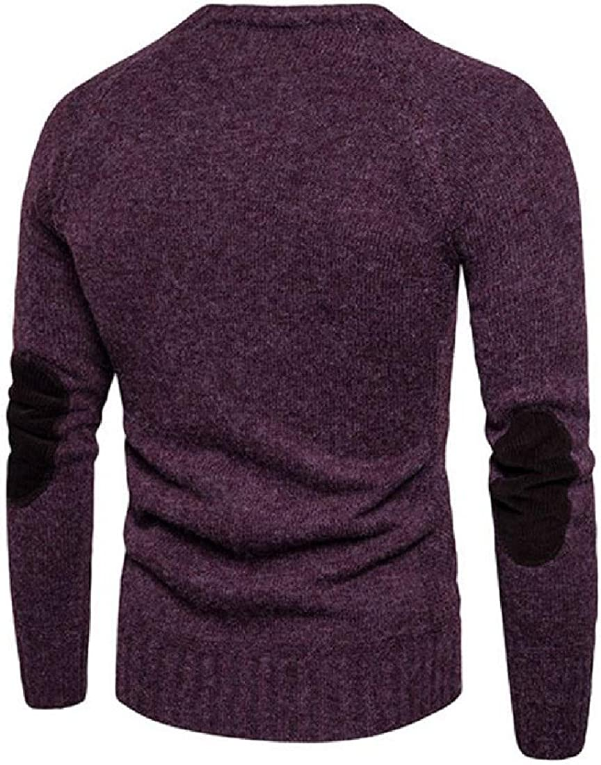 UUYUK Men Autumn Pure Color Turtle Neck Cable Knit Pullover Jumper Sweater