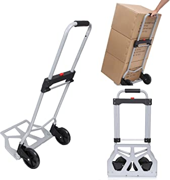 NIHAIdashen 200-lb Folding Hand Truck Heavy Duty Capacity Portable Aluminum Alloy Cart and Dolly for Luggage Travel Office Auto Moving PVC Wheels with Double Bearings and Adjustable Handle