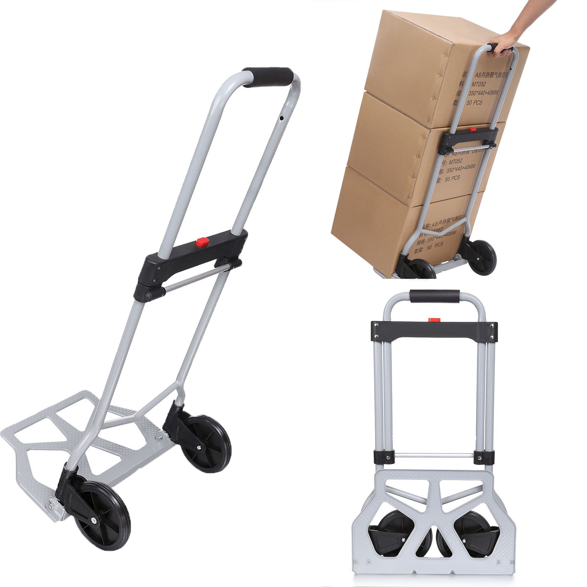 Heavy Duty Hand Truck & Dolly, 220 lb. Capacity Aluminum Portable Folding Luggage Utility Cart with2 Wheels for Shopping/Industrial/ Travel