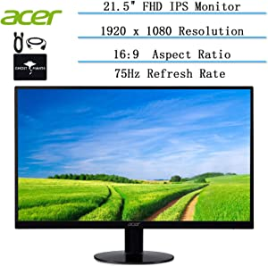 "2020 Newest Acer 21.5"" FHD LCD Ultra-Thin Zero Frame Monitor for Business and Student, 16: 9, IPS, 4ms Response Time, 75 Hertz, 16. 7 Million Colors, HDMI & VGA Port, w/Ghost Manta Accessories"