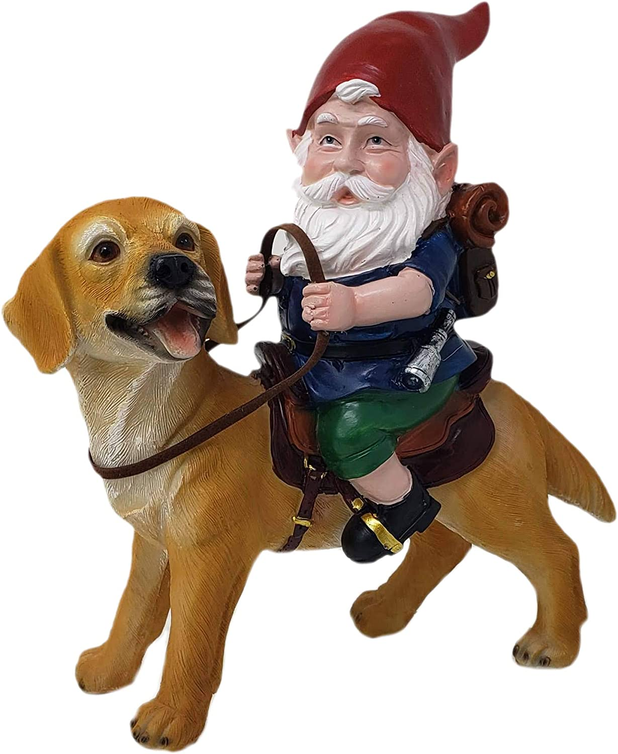 Funny Guy Mugs Gnome and a Yellow Lab Statue- Yellow Labrador Retriever- Indoor/Outdoor Garden Gnome Sculpture for Patio, Yard or Lawn