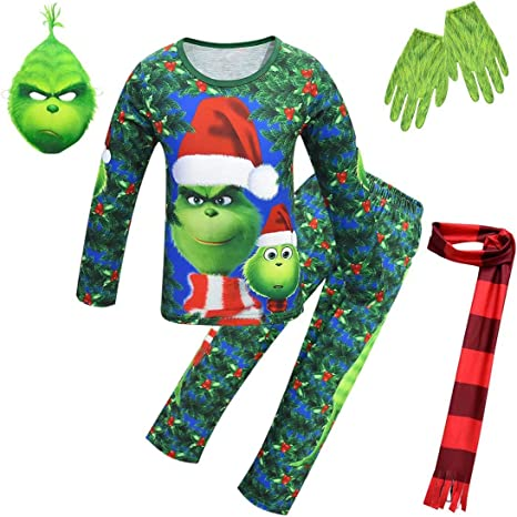 Kid Grinch Mask Gloves Costume Jumpsuit Christmas Grinch Toy ...
