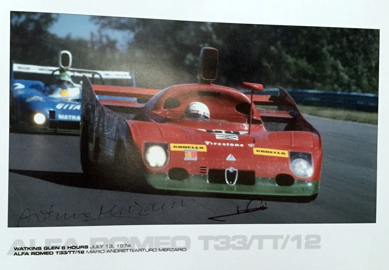Alfa Romeo Autographed T33/TT Poster Mario Andretti/Arturo Merzario Watkins Glen 6 Hours 1974 13 x 19″