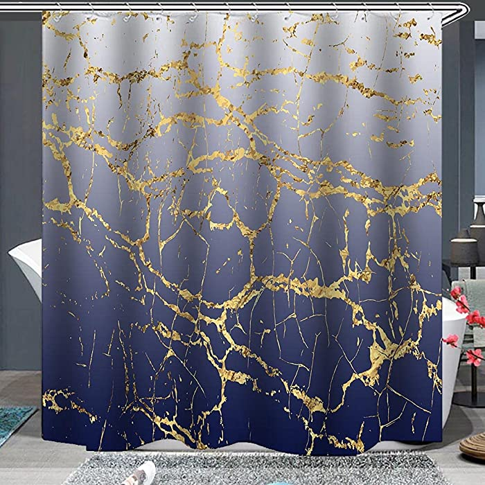 Navy Ombre Gradient Shower Curtain Abstract Gold Glitter Marble Greyish White to Navy Blue Cracked Lines Water Soap Resistant Machine Washable Bathroom Decor Set with Hook Bath Curtain 72 x 72 inch