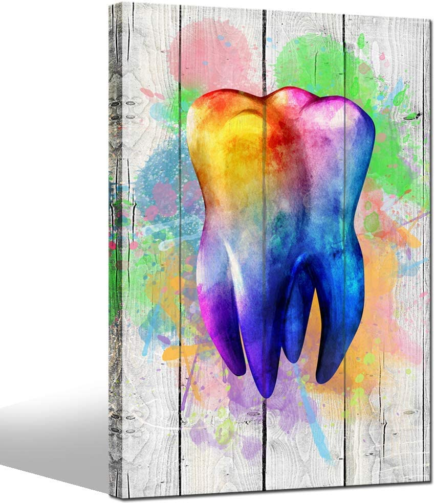 LevvArts - Contemporary Art Prints Colorful Tooth with Wood Background Painting Canvas Art for Dental Clinic Office Medical Decor Dentistry Student Kids Room Dentist Gift