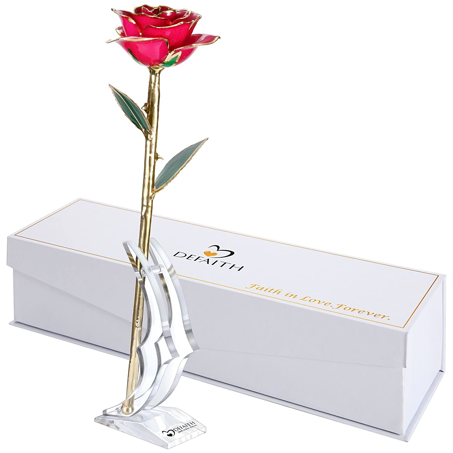 (C.deep Pink) - DeFaith Deep Pink 24K Gold Rose, Unique Anniversary Gifts for Mother Wife Girlfriend Her Women, Made from Real Rose Flower with Stand B014IZ2N8Y C.Deep Pink