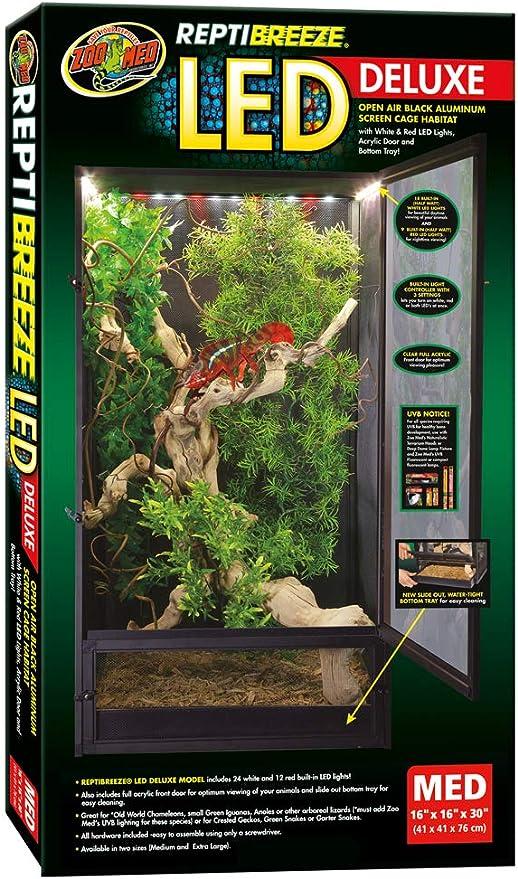 Zoomed NT-15E ReptiBreeze Deluxe - Terrario de Aluminio (41 x 41 x 76 cm, Incluye iluminación LED)