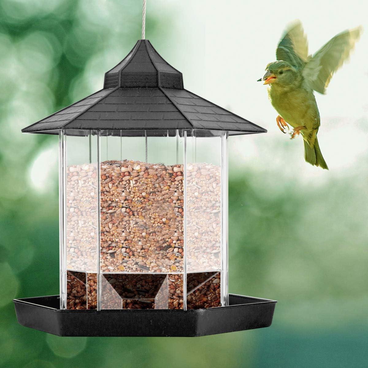 Tianhaik Comedero para Pájaros Colgante de Gran Capacidad Contenedor de Alimentos Automático con Decoración de Patio de Jardín de Techo