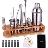 Cocktail Shaker Set Bartender Kit 26-Piece Stainless Steel Bar Tool Set with Bamboo Stand,Home Cocktail Tool with All Bar Acc