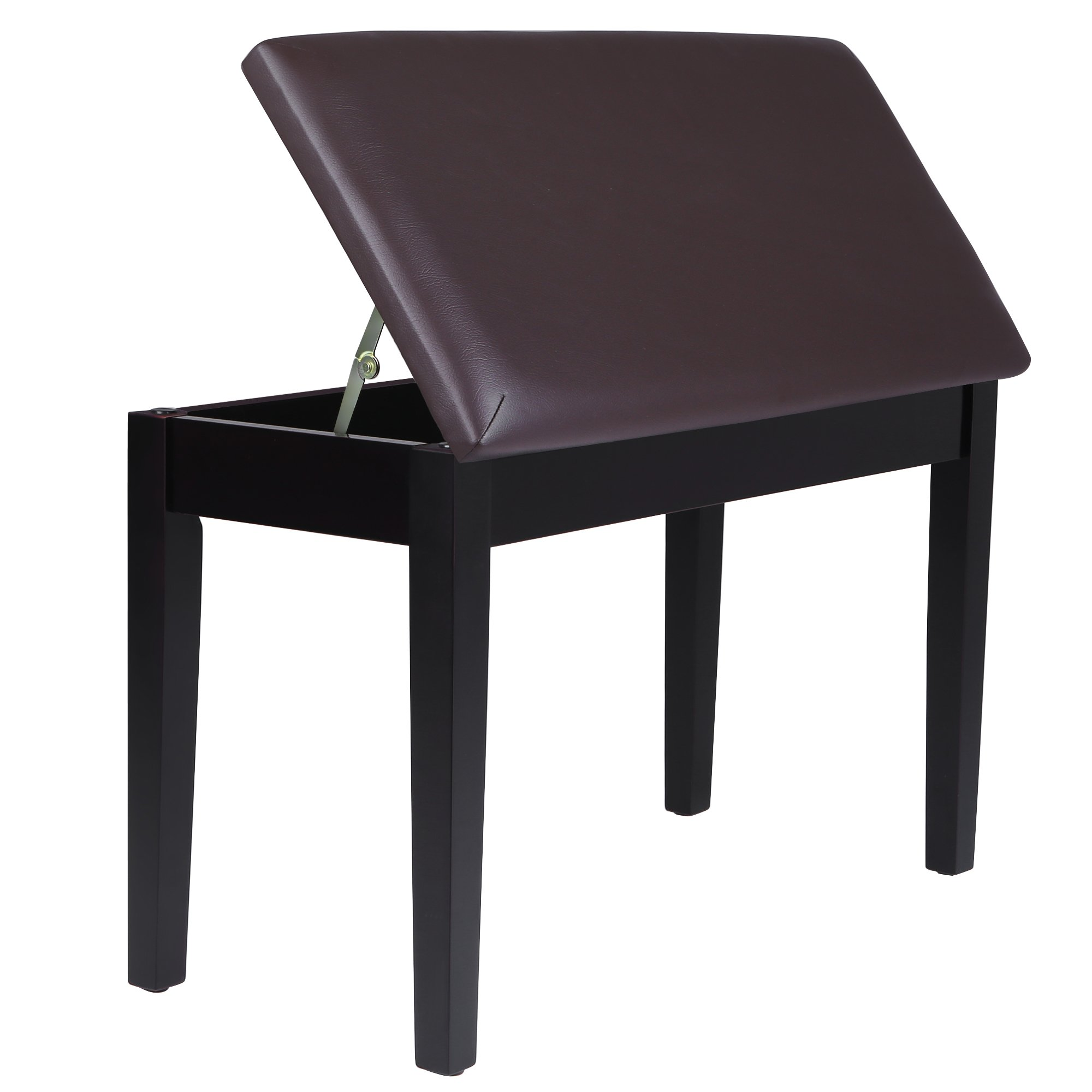 SONGMICS Wooden Duet Piano Bench with Padded Cushion and Music Storage Brown ULPB75Z