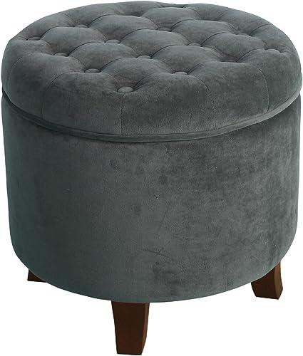 HomePop Velvet Button Tufted Round Storage Ottoman